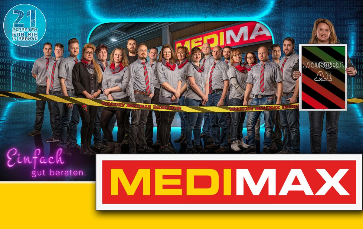 Medimax Gruppenbild Bernau Allmie Firmen Shooting gelb