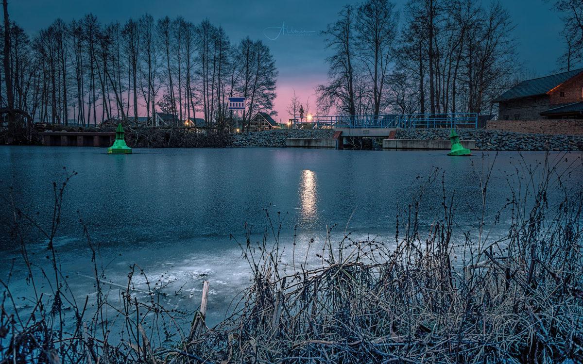 Hafendorf Zerpenschleuse Landschaftsbild Winter